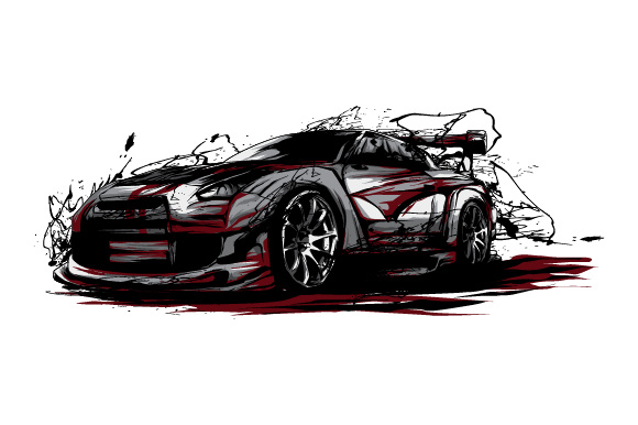 Download Free Sport Car Splatter Style Graphic By Syndicate Std Creative Fabrica for Cricut Explore, Silhouette and other cutting machines.