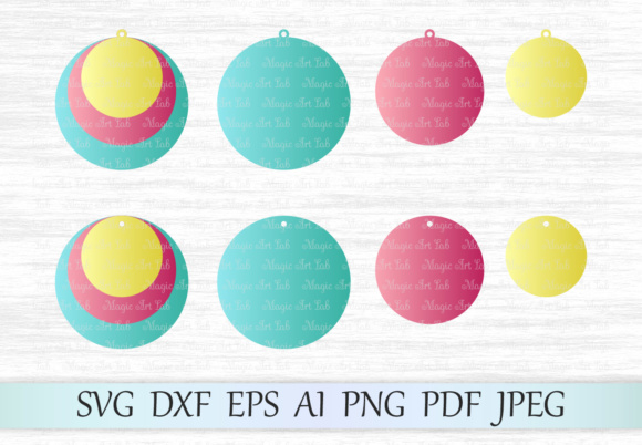 Download Free Stacked Circle Earrings Svg Graphic By Magicartlab Creative for Cricut Explore, Silhouette and other cutting machines.