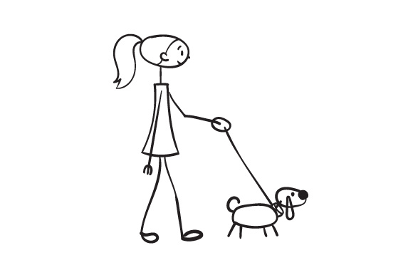 Download Free Stick Women Walking Dog Svg Cut File By Creative Fabrica Crafts for Cricut Explore, Silhouette and other cutting machines.