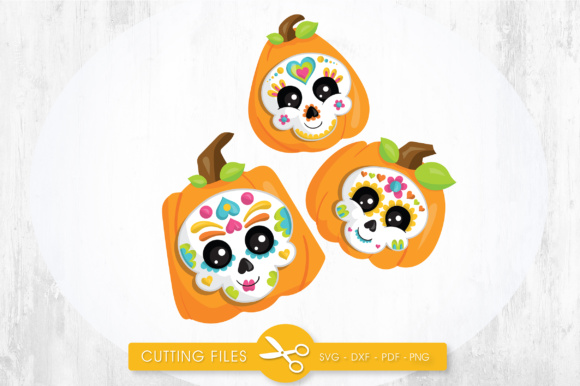 Download Free Sugar Skull Pumpkins Graphic By Prettycuttables Creative Fabrica for Cricut Explore, Silhouette and other cutting machines.