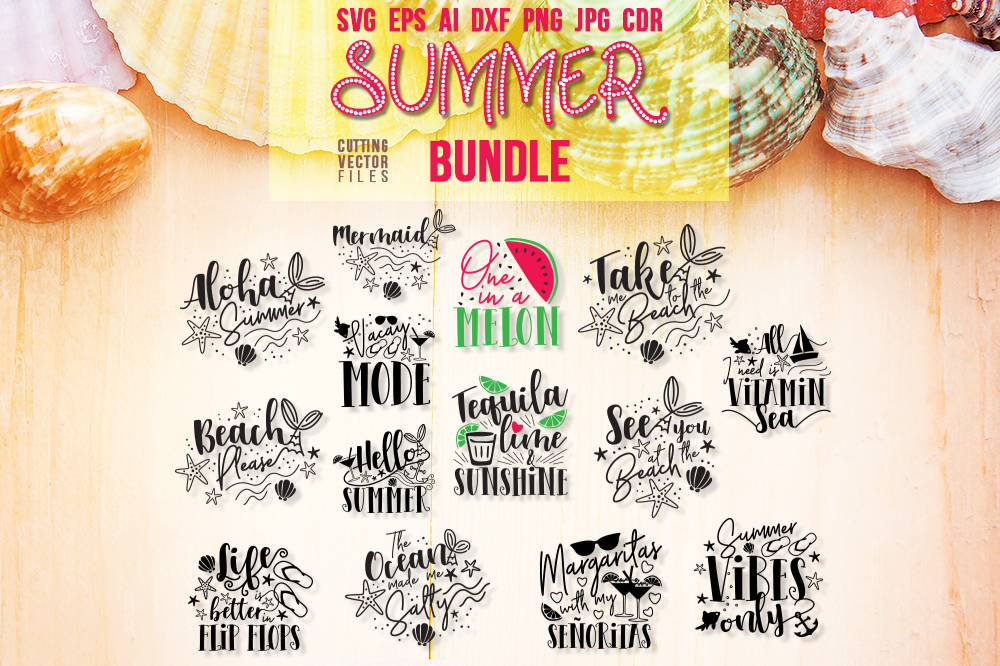 Download Free Summer Vibes Graphic Bundle Graphic By Danieladoychinovashop for Cricut Explore, Silhouette and other cutting machines.