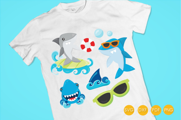 Summer Sharks Graphic Crafts By PrettyCuttables - Image 2