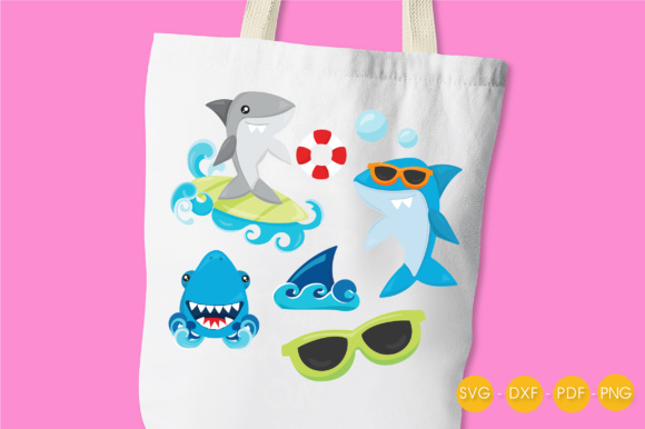 Summer Sharks Graphic Crafts By PrettyCuttables - Image 3