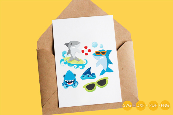 Summer Sharks Graphic Crafts By PrettyCuttables - Image 4