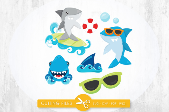 Summer Sharks Graphic Crafts By PrettyCuttables - Image 1