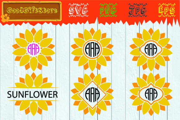 Download Free Sunflower Monogram Graphic By Piedesigner Creative Fabrica SVG Cut Files