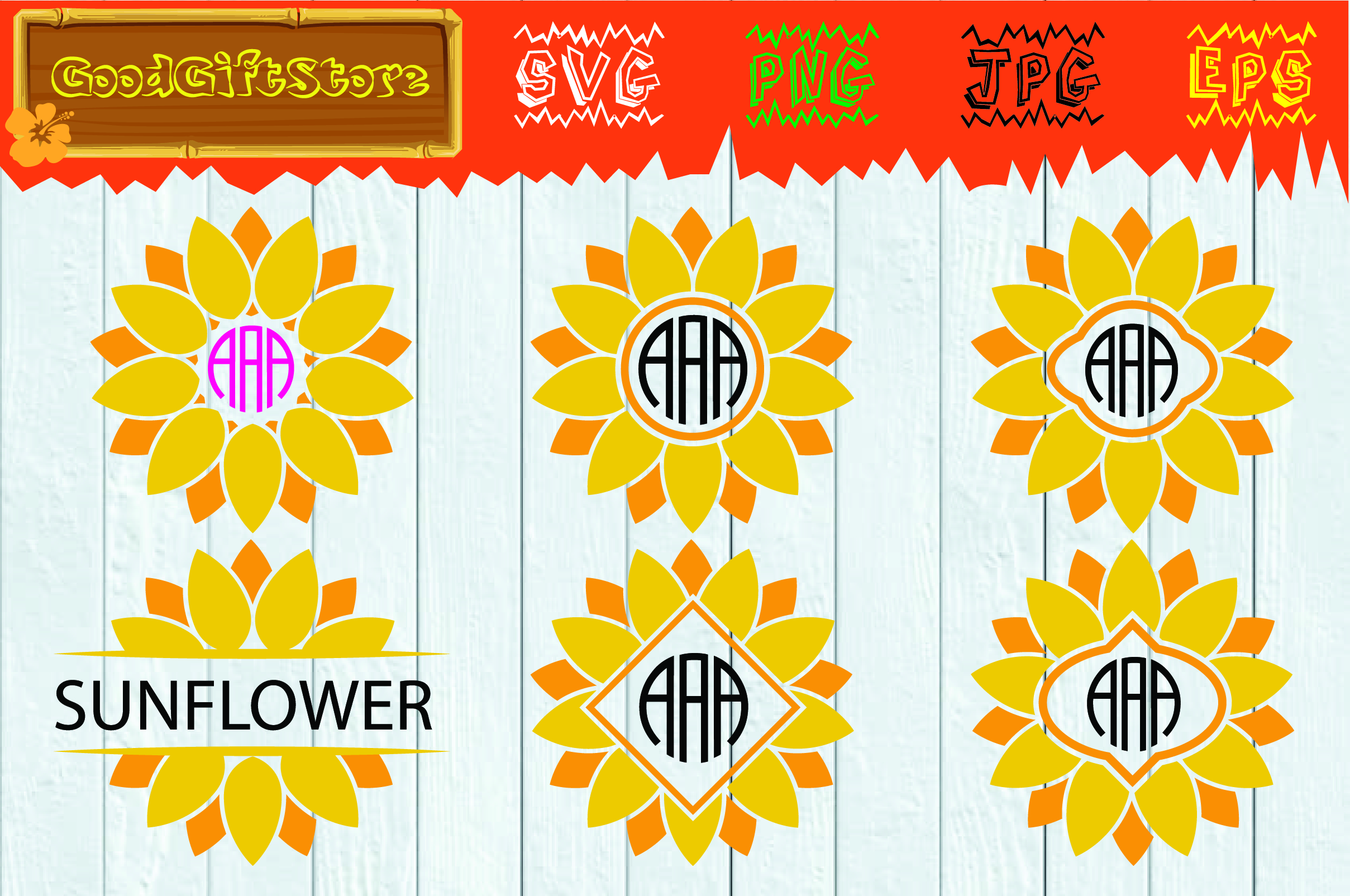 Download Free Sunflower Monogram Graphic By Piedesigner Creative Fabrica for Cricut Explore, Silhouette and other cutting machines.