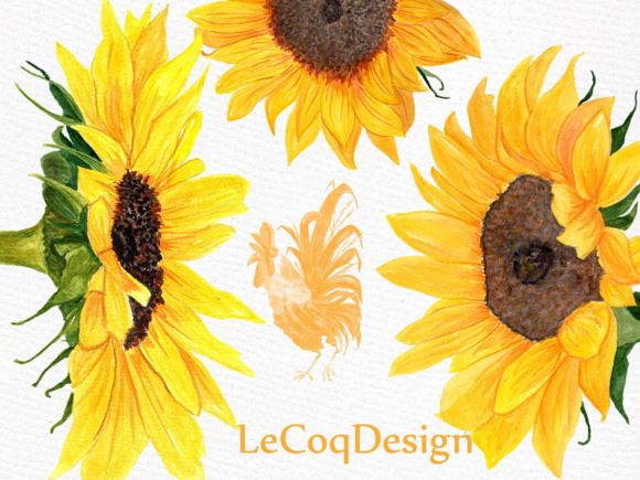 Sunflower Watercolor Clipart SUNFLOWER CLIP ART Wedding Clipart Floral Clipart Separate Flowers Diy Wedding Graphic Illustrations By LeCoqDesign - Image 5