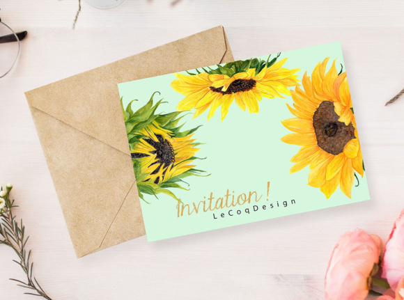 Sunflower Watercolor Clipart SUNFLOWER CLIP ART Wedding Clipart Floral Clipart Separate Flowers Diy Wedding Graphic Illustrations By LeCoqDesign - Image 6