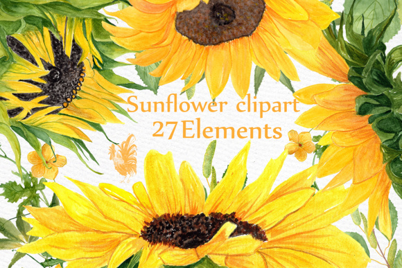 Sunflower Watercolor Clipart SUNFLOWER CLIP ART Wedding Clipart Floral Clipart Separate Flowers Diy Wedding Graphic Illustrations By LeCoqDesign - Image 1