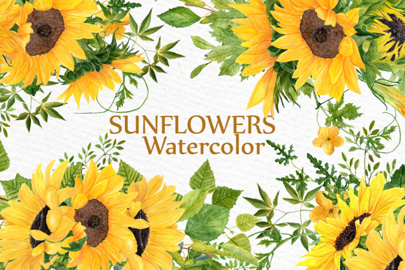 Sunflower Clipart Watercolor Wreath SUNFLOWER BOUQUETS Wedding Clipart Floral Wreaths Yellow Flowers Graphic Illustrations By LeCoqDesign
