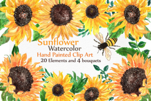 Print on Demand: Sunflower Watercolor Clip Art Graphic Illustrations By LeCoqDesign