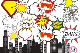 Print on Demand: Superhero Clipart Graphic Illustrations By A to Z Parties