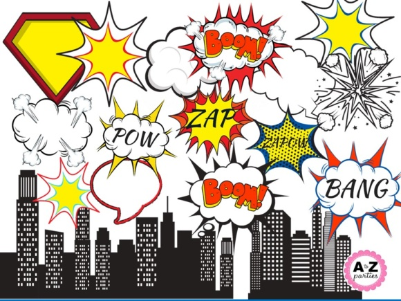 Print on Demand: Superhero Clipart Graphic Illustrations By A to Z Parties - Image 1