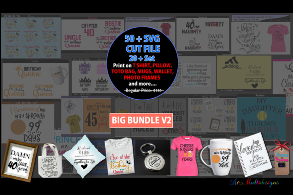 Print on Demand: Svg Cut File Bundle/over 50 Plus Cut Files Graphic Crafts By Arcs Multidesigns