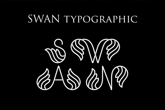 Download Free Swan Typographic Alphabet Letter A Z Graphic By Typera for Cricut Explore, Silhouette and other cutting machines.