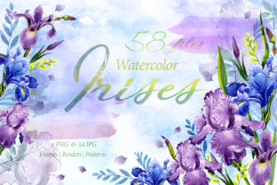 Tender Watercolor Irises PNG Set Graphic By MyStocks