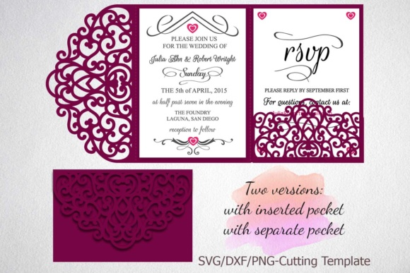 Download Free Tri Fold Wedding Invitation Pocket Envelope Graphic By Cornelia for Cricut Explore, Silhouette and other cutting machines.