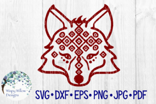 Download Free Tribal Fox Face Wolf Animal Cut File Graphic By for Cricut Explore, Silhouette and other cutting machines.
