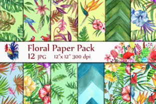 Print on Demand: Tropical Digital Paper Graphic Backgrounds By LeCoqDesign