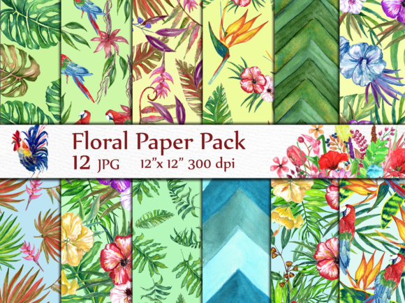 Tropical Digital Paper Graphic By LeCoqDesign