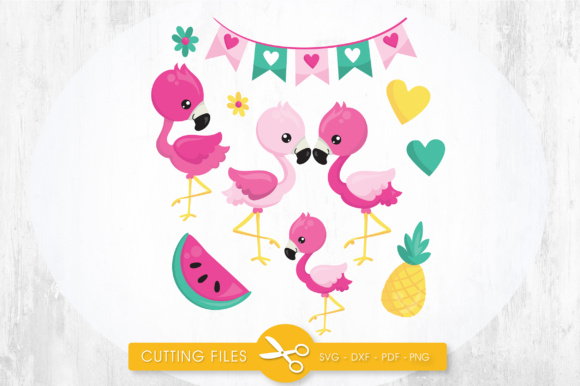 Tropical Flamingos Graphic Crafts By PrettyCuttables