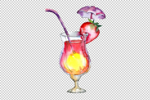 Download Free Tropical Cocktails Watercolor Set Graphic By Mystocks Creative for Cricut Explore, Silhouette and other cutting machines.