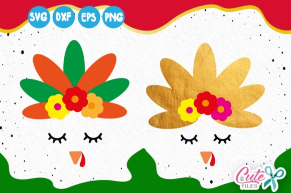 Turkey GIRLY Face, Thanksgiving Svg, Fall Yall Svg Graphic Illustrations By Cute files