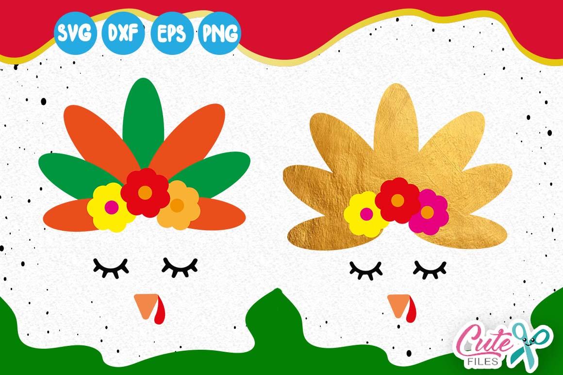 Turkey Girly Face Thanksgiving Svg Fall Yall Svg Graphic By Cute Files Creative Fabrica