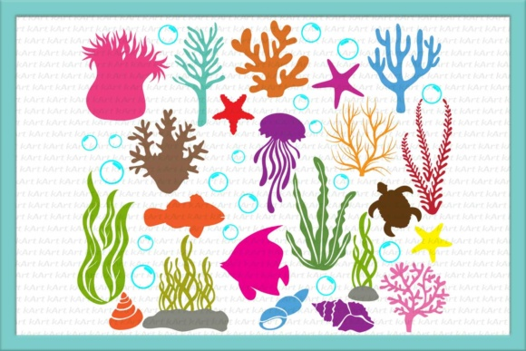Under the Sea, Coral, Bubbles, Ocean Life, Sea Animals, Clipart, Seashells, Jellyfish, Algae, Paper Cut Template Graphic Crafts By Cornelia