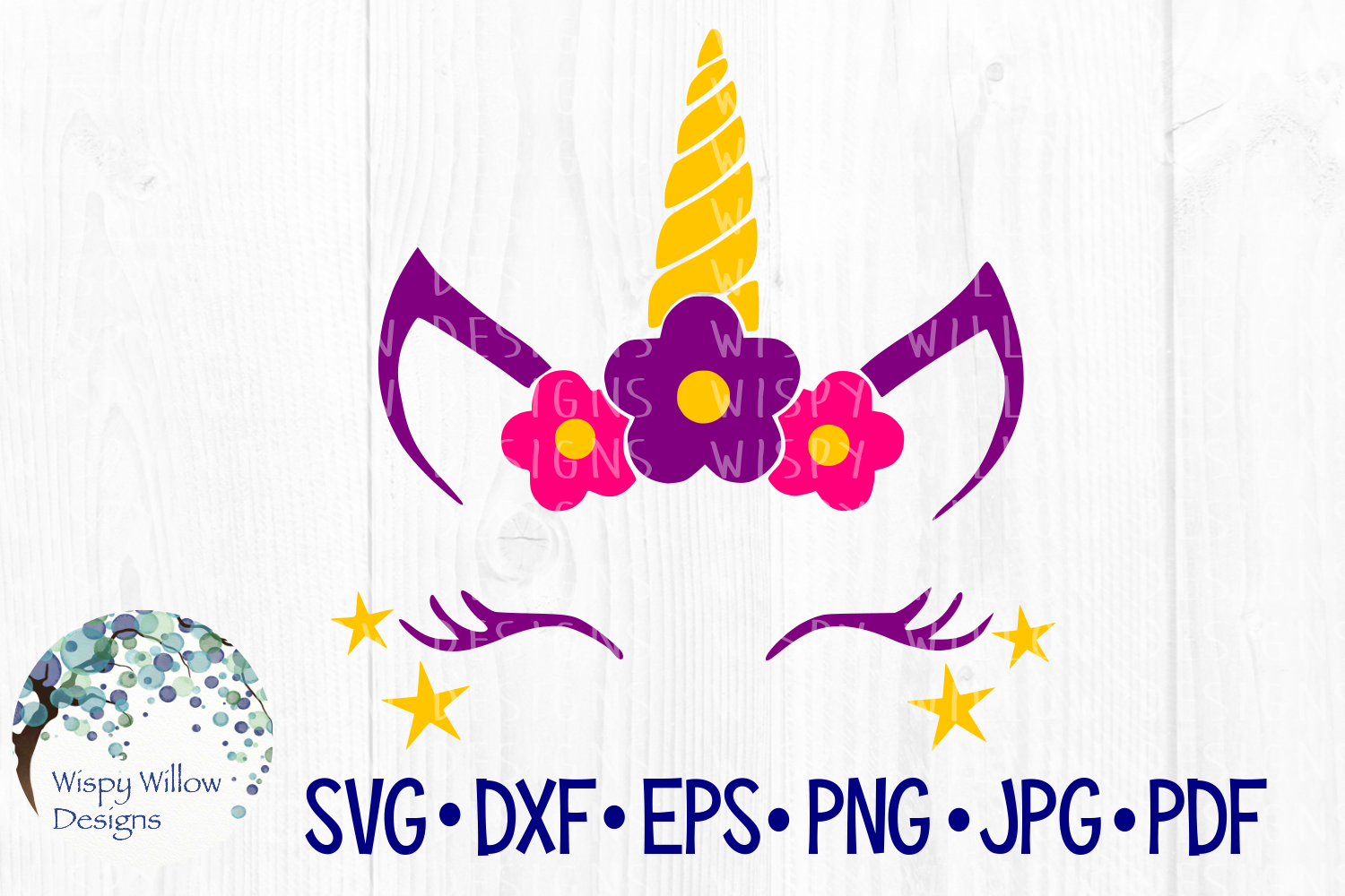 Download Free Unicorn Face Stars Flowers Girl Cut File Graphic By for Cricut Explore, Silhouette and other cutting machines.