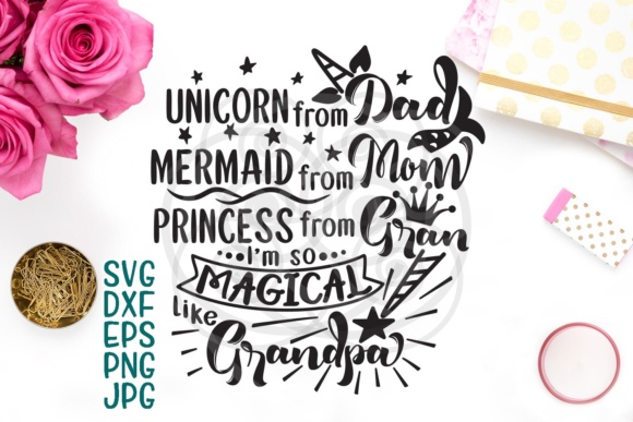 Unicorn Mermaid Svg, Unicorn Party, Unicorn Birthday, Svg Files, Princess Svg File, Magical Svg, Mom Dad, Grandpa, Grandma, Cricut Digital Graphic Crafts By Cornelia