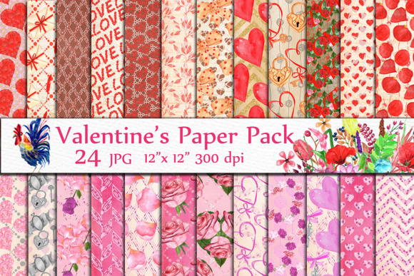 Valentine Digital Papers Graphic Backgrounds By LeCoqDesign