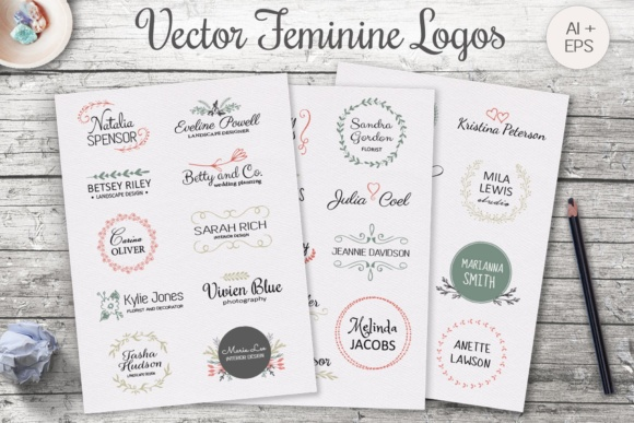 Vintage Feminine Logo Templates Graphic By switzershop
