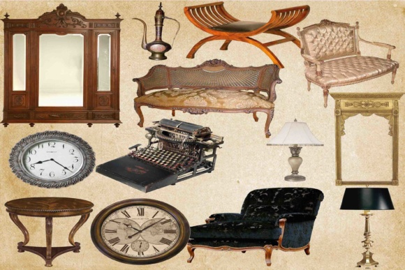 Print on Demand: Vintage Funiture Clip Art Graphic Illustrations By retrowalldecor