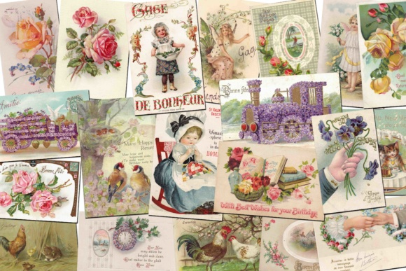Print on Demand: Vintage Greeting Cards Grafik Illustrationen von retrowalldecor - Bild 1