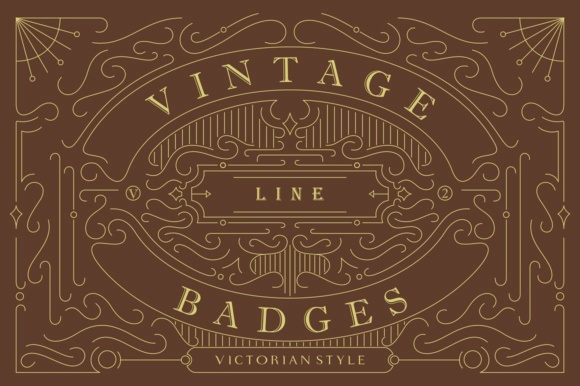Print on Demand: Vintage Line Badges 2 Graphic Logos By Viaction Type.Co