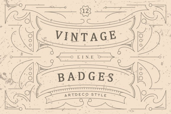 Print on Demand: Vintage Line Badges Graphic Logos By Viaction Type.Co