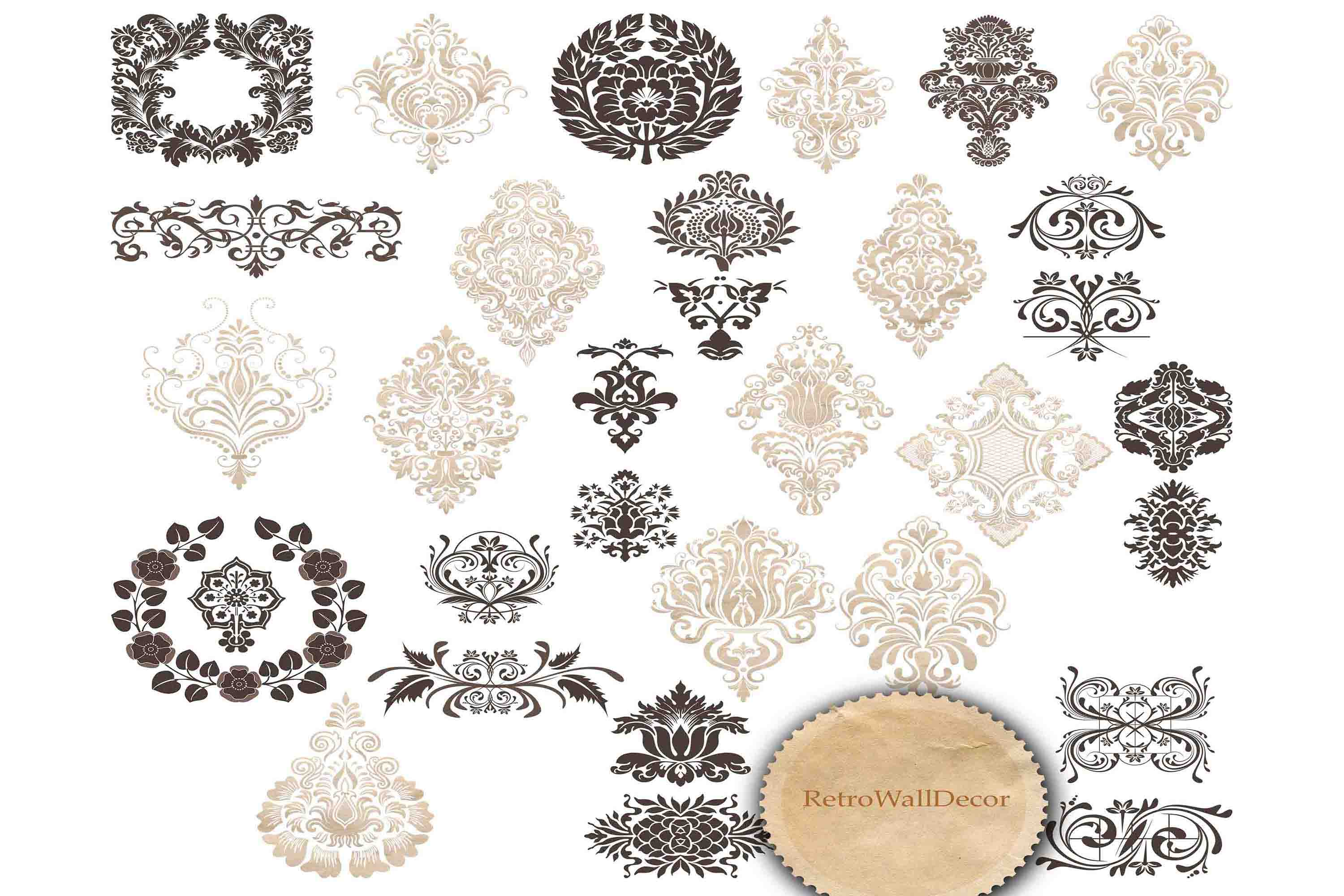 Download Free Vintage Ornaments Clip Art Set Graphic By Retrowalldecor SVG Cut Files