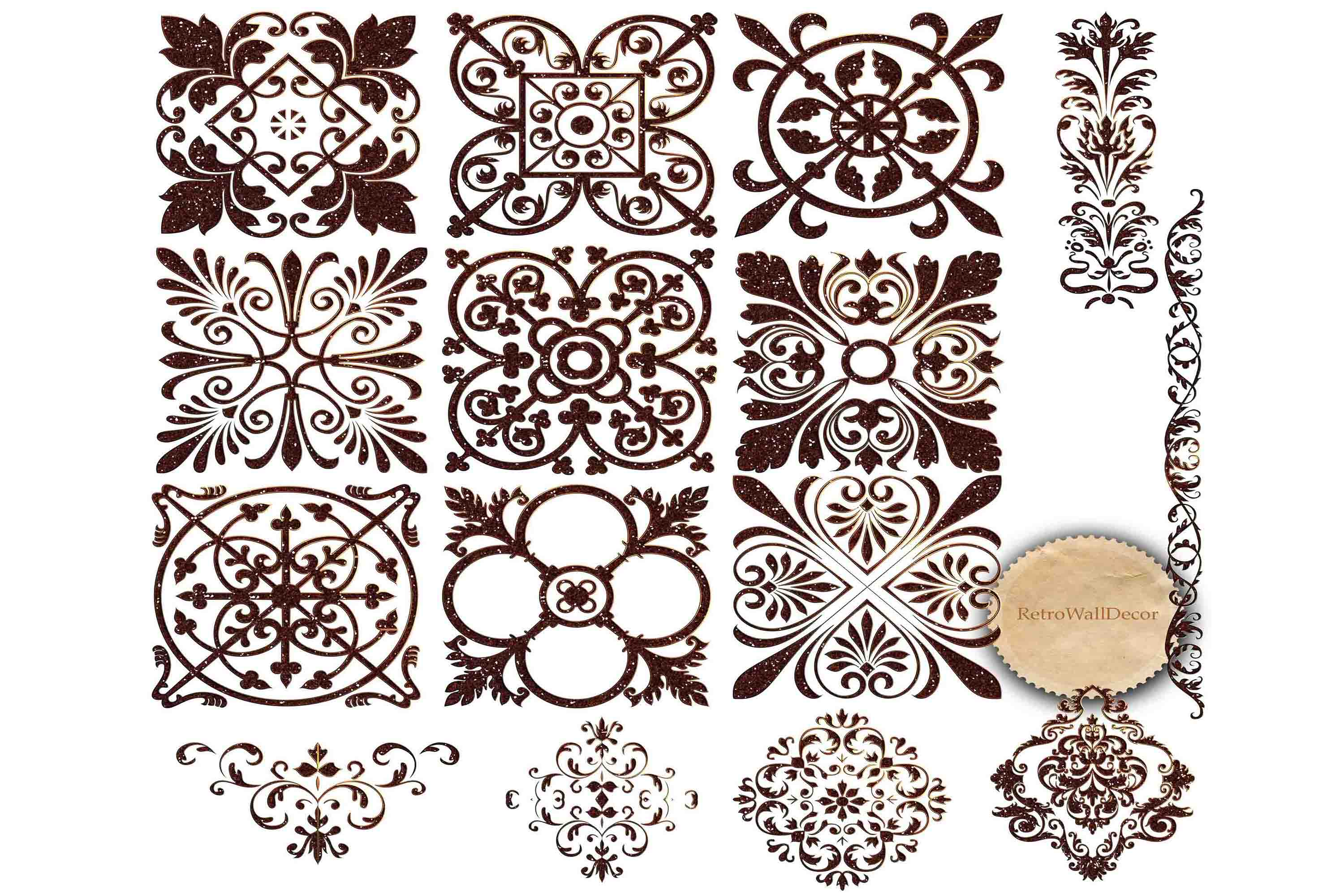 Download Free Vintage Ornaments Clip Art Graphic By Retrowalldecor Creative for Cricut Explore, Silhouette and other cutting machines.