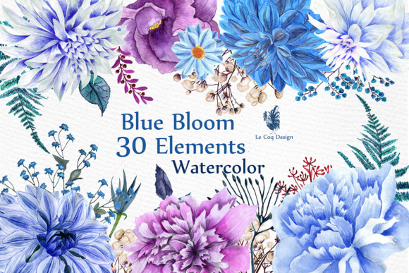Watercolor Blue Flowers Clipart Graphic Illustrations By LeCoqDesign