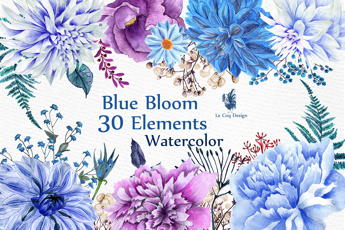 Watercolor Blue Flowers Clipart (Graphic) by LeCoqDesign ... (1162 x 775 Pixel)