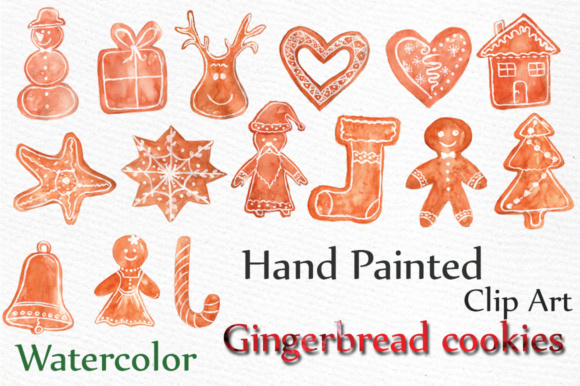Download Free Watercolor Christmas Ornaments Gingerbread Cookies Clipart Graphic By Lecoqdesign Creative Fabrica for Cricut Explore, Silhouette and other cutting machines.