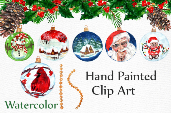 Watercolor Christmas Ornaments Gingerbread Cookies Clipart
