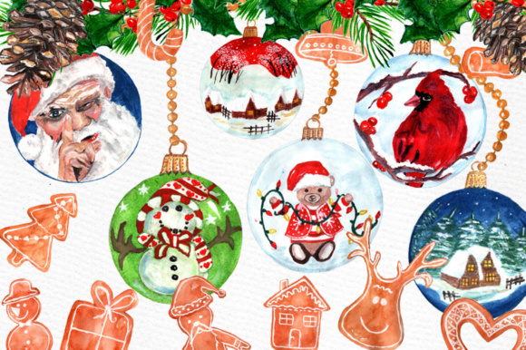 Download Free Watercolor Christmas Ornaments Gingerbread Cookies Clipart for Cricut Explore, Silhouette and other cutting machines.