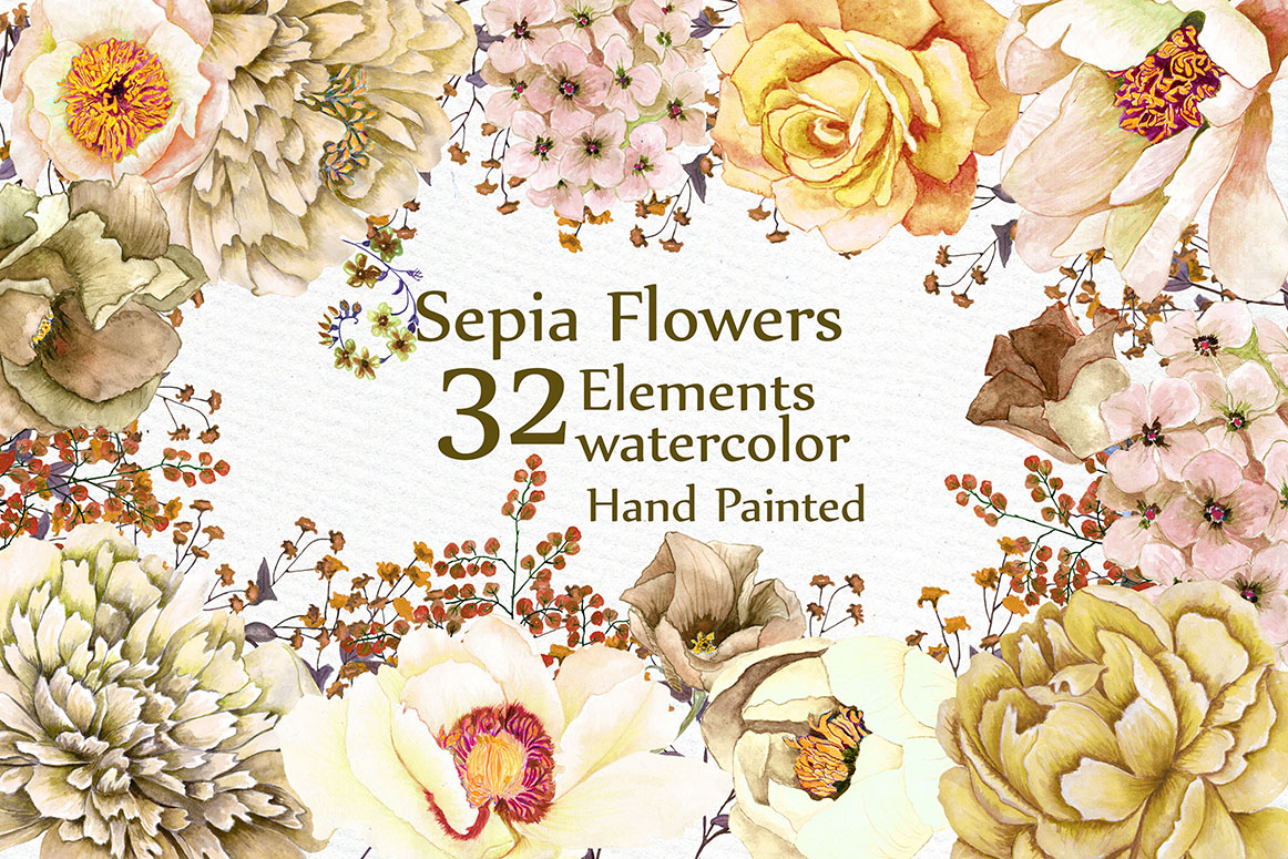 Watercolor Clipart FLOWERS CLIPART Sepia brown flowers wedding ...