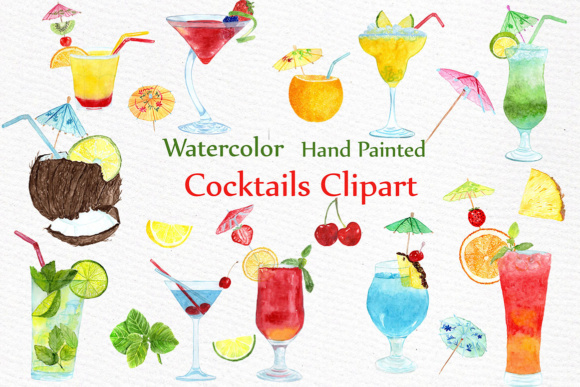 Watercolor Cocktails Clipart Graphic Illustrations By LeCoqDesign
