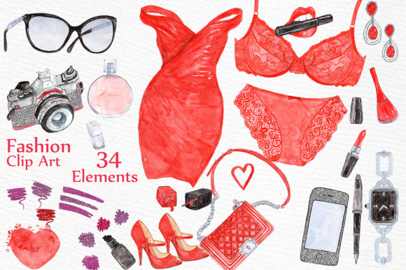 Watercolor Fashion Clipart. Graphic Illustrations By LeCoqDesign