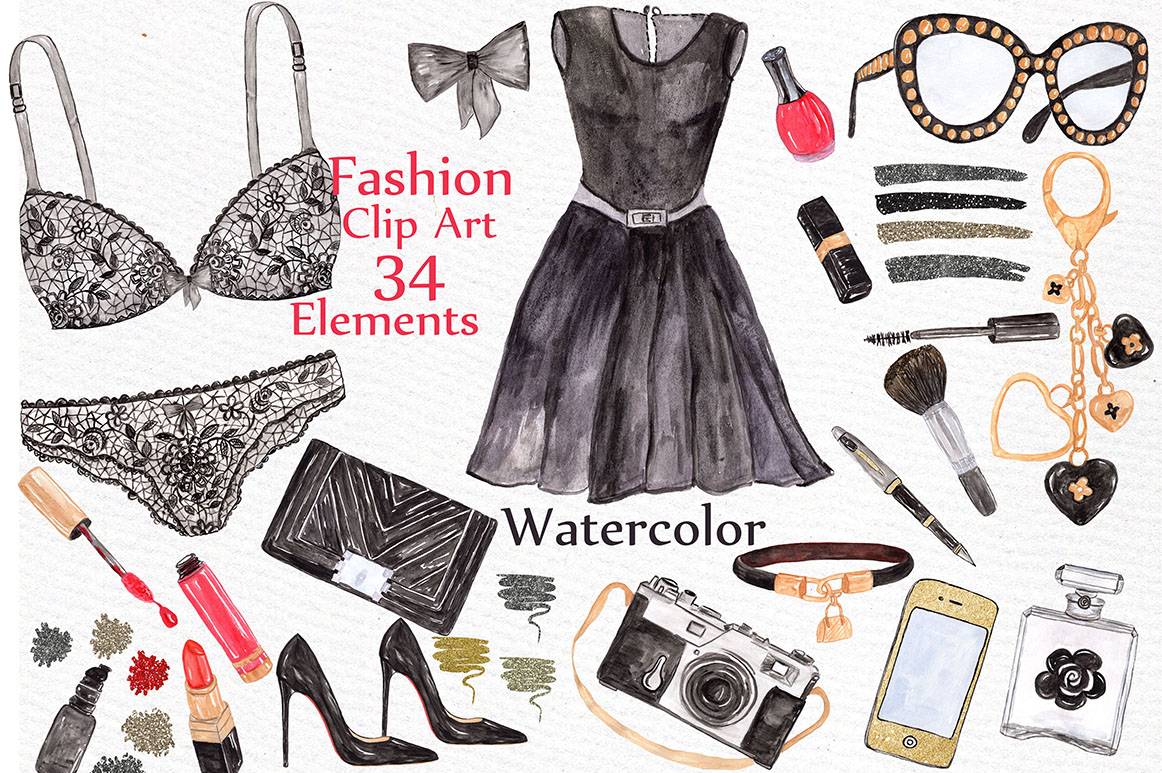 Download Free Watercolor Fashion Clip Art Bundle Graphic By Lecoqdesign for Cricut Explore, Silhouette and other cutting machines.