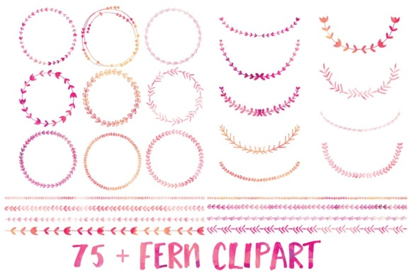 Print on Demand: Watercolor Fern Clip Art Graphic Illustrations By illuztrate